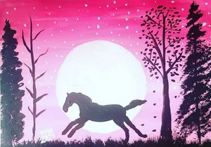 Prancing Horse in the Moonlight