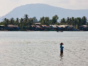 Fisherman in Kampot, Cambodia