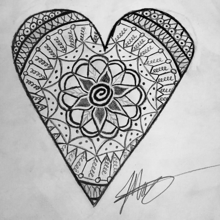 Heart Mandala (Black & White) - Drawings by Jackie