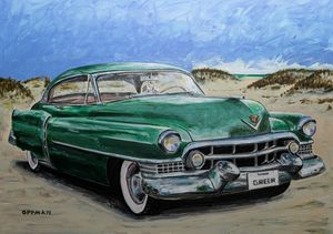 Green Cadillac on Galveston Beach