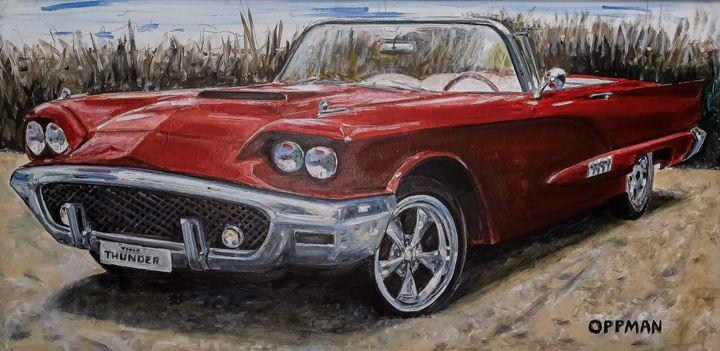 Old Thunderbird on Galveston Beach - Cars of Old Galveston