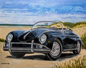 Old Black Porsche on Galveston Beach