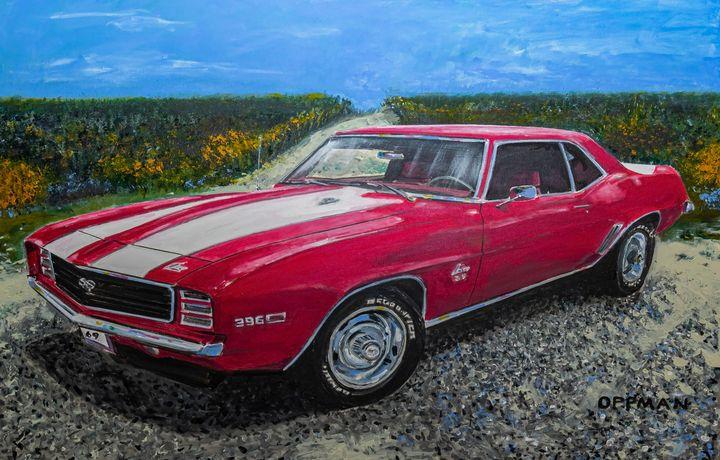 1969 Red Camaro on beach backroad - Cars of Old Galveston