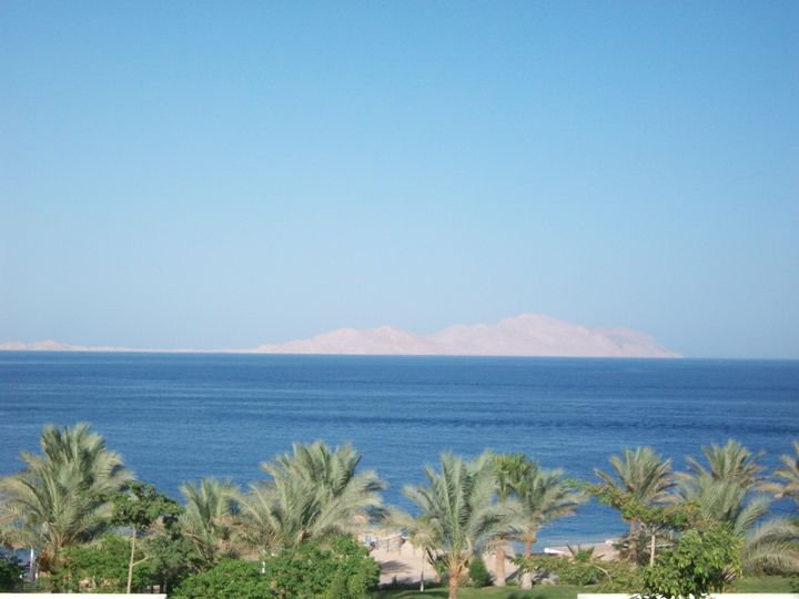 Sharm with view of Tiran Island - Painting and Photography by Julia Malphrus