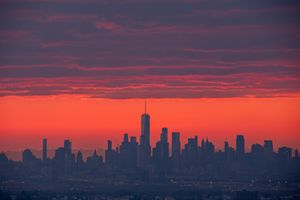 New York City Skyline Red Sky