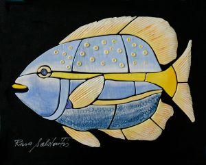 Handmade Ceramic Blue Yellow Fish