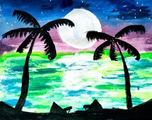Midnight beach
