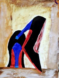 Red Bottoms with blue heels