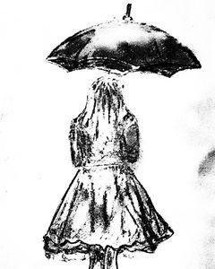 Lady catching umbrella