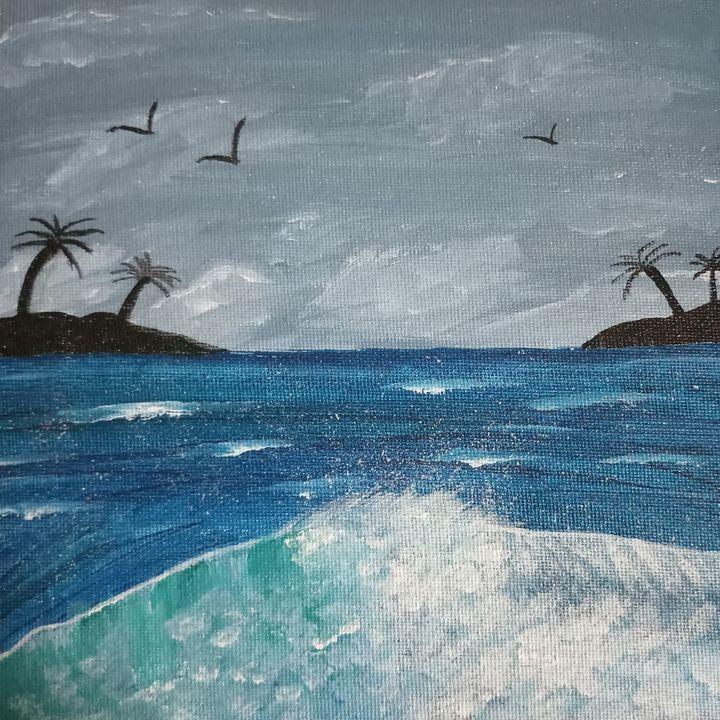The beach on a stormy evening. - Zenquillitra Art