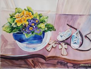 """S2, 18"""" x 24"""" Watercolor Painting - HSJ Gallery"""