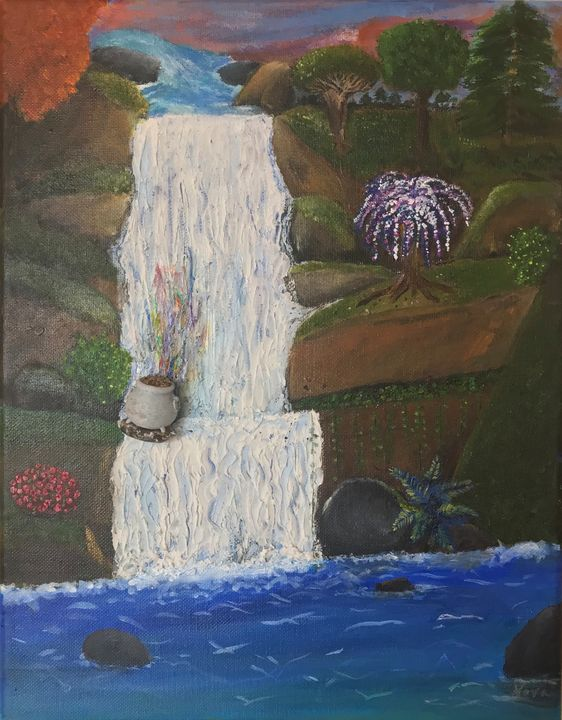 Pot of Gold on Waterfall - Arts By Nova