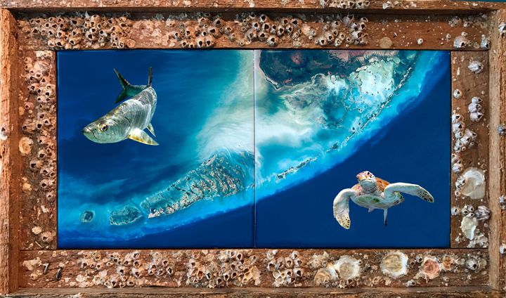 Florida Keys Satellite View - Lobster Trap Art