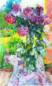 pink and white peonies painting