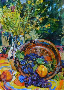Grapes and wild flowers