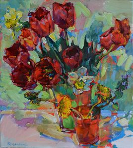 Tulips and daffodils in vase,art