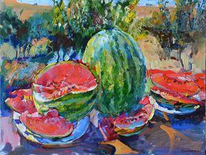 still life watermelon, painting