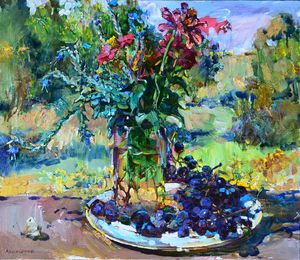 Still life grape and flowers