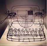 Vintage wire sculpture - Typewriter