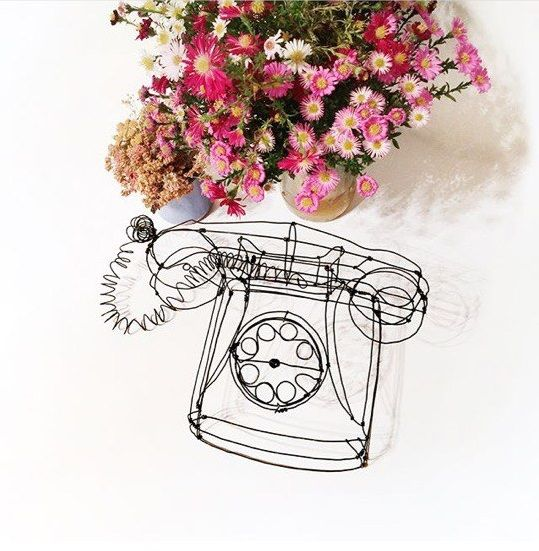 Vintage wire sculpture - Phone - PK