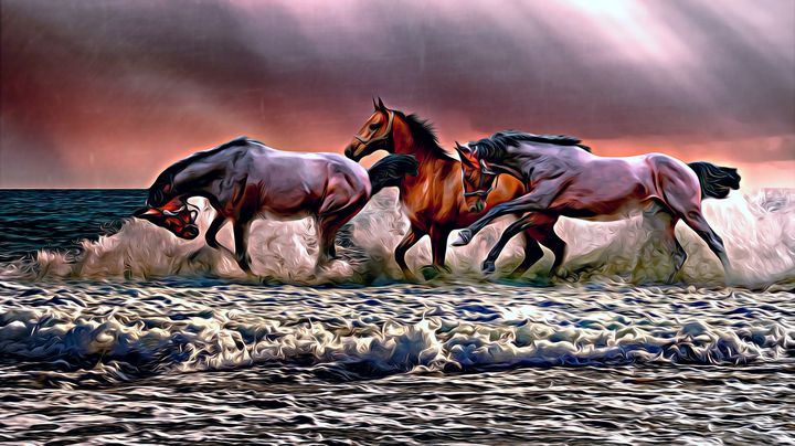 Horses Galloping in the Ocean - Wilson Colfax
