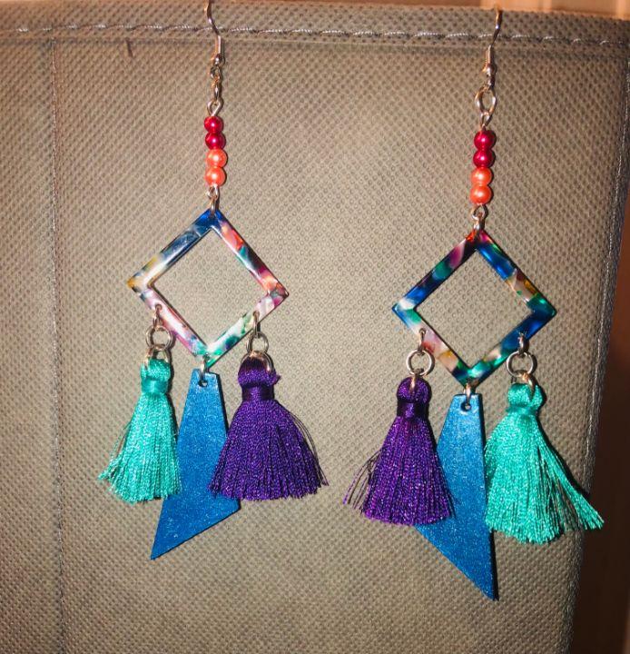 Geometric Bright Tassel Earrings - Art By Trishia K