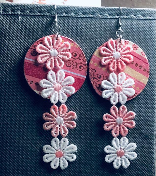 Pink Daisy Earrings - Art By Trishia K