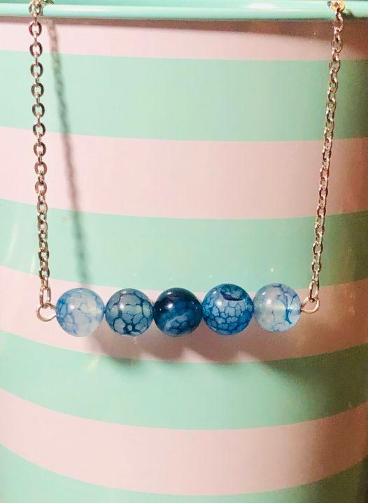 Blue Crackle Agate Bead Bar Necklace - Art By Trishia K