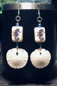 Seahorse & Real Sand Dollar Earrings
