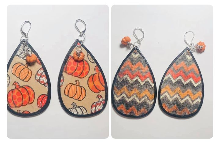 Reversible Pumpkin Earrings Pair # 1 - Art By Trishia K