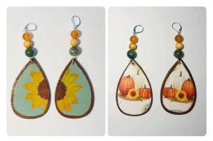 Reversible Sunflower Earrings Pair#4
