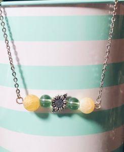 Sunflower Bead Bar Necklace - Art By Trishia K