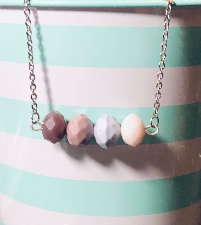 Purple Ombre Bead Bar Necklace - Art By Trishia K