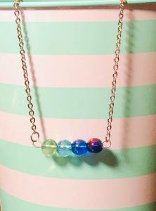 Colorful Ombre Bead Bar Necklace