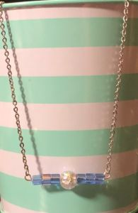 Light Blue Bead Bar Necklace