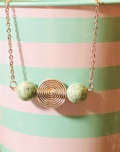 Mint Green Marbled Bead Bar Necklace