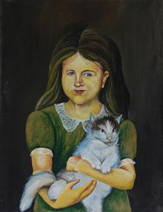 5.  Girl with  a cat.