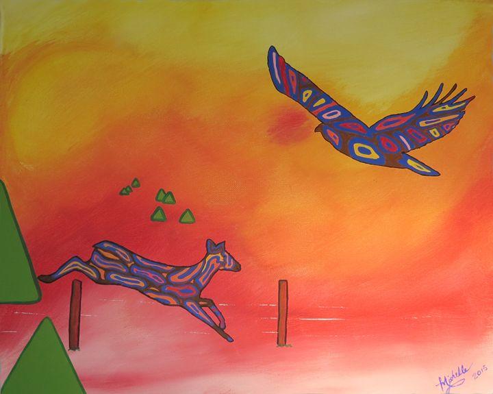 Deer & Hawk - Muck-About Fine Art