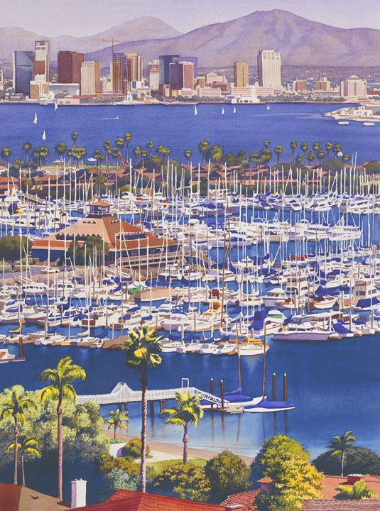 A Clear Day in San Diego - Mary Helmreich California Watercolors