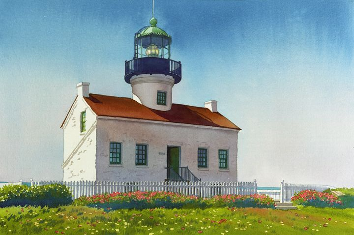 Point Loma Lighthouse - Mary Helmreich California Watercolors