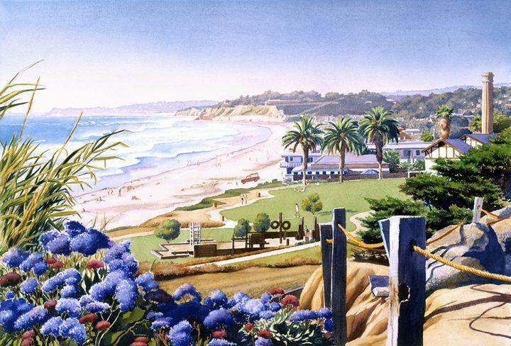 Powerhouse Beach Del Mar Blue - Mary Helmreich California Watercolors
