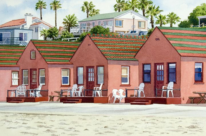 Robert's Cottages Oceanside - Mary Helmreich California Watercolors