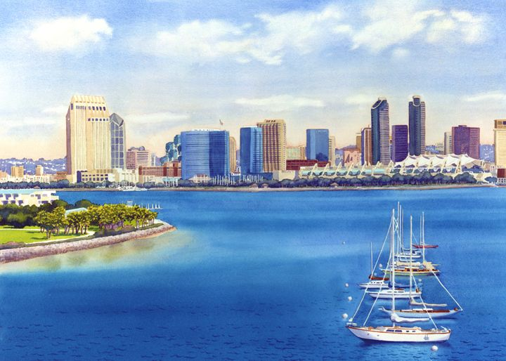 San Diego Skyline With Meridien - Mary Helmreich California Watercolors