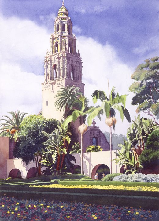 Bell Tower In Balboa Park - Mary Helmreich California Watercolors