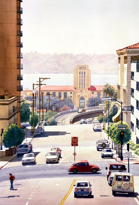 SD County Administration Building - Mary Helmreich California Watercolors