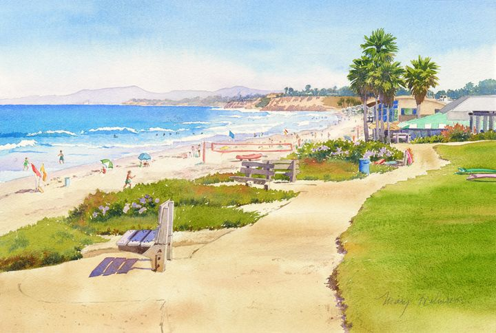Bench At Powerhouse Beach Del Mar - Mary Helmreich California Watercolors