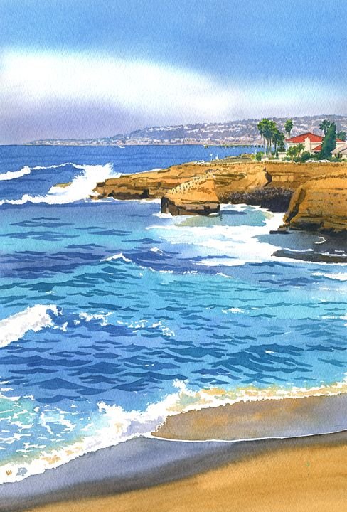 Sunset Cliffs Point Loma - Mary Helmreich California Watercolors