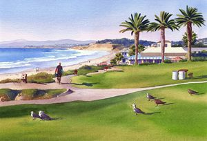 Surfer at Tres Palms Del Mar - Mary Helmreich California Watercolors