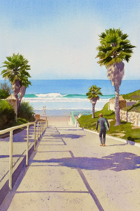 Surfer Dude At Fletcher Cove - Mary Helmreich California Watercolors