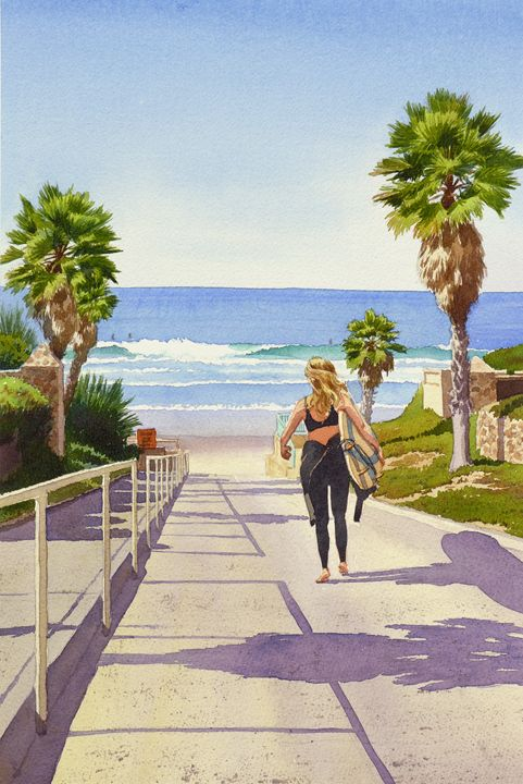 Surfer Girl at Fletcher Cove - Mary Helmreich California Watercolors